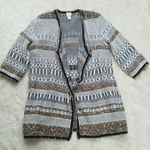 CHICOS textured stripe open front cardigan sweater